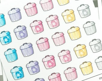 Mini Planner Stickers : 045 Trash Can / Recycle / Kawaii