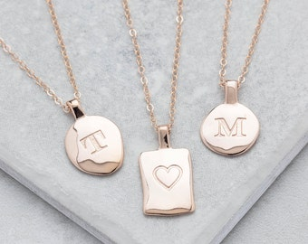 personalised rose gold initial necklace rose gold initial pendant personalized necklace custom necklace rose gold charm 14k charm