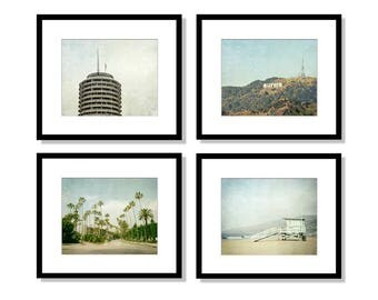 SALE, Los Angeles Print Set, California Photography, black and white, Hollywood, Malibu, Beverly Hills, Wall Art, Home Decor, Set of 4