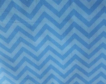 Blue on Blue Chevron Cotton Fabric Waverly Inspirations Baby Boy Nursery