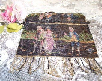 Antique Marie Antoinette Style French Micro Beaded Purse Circa 1899