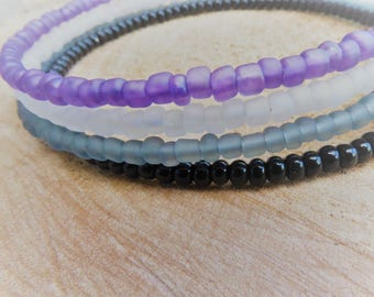 NEW 2017 Frosted Glass Asexual Memory Bracelet LGBT