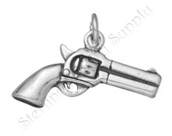 Sterling Silver Gun Charm, Double-Sided Silver Revolver Charm, Second Amendment Charm, USA Seller, Fast Shipping (S127)