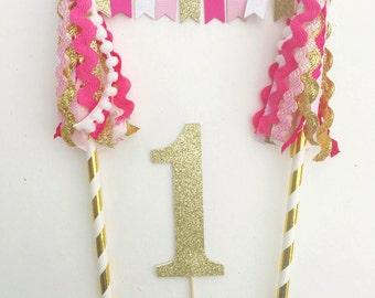 Custom number bunting banner cake topper, tassel cake topper, gold pink white cake topper, first birthday cake topper, smash cake topper