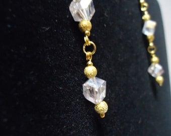 Clear AB Double Crystal Cube Dangle Earrings