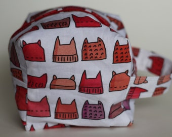 Kitty Cat Hat Knitting & Crochet Project/Toiletry Sock Cube Bag