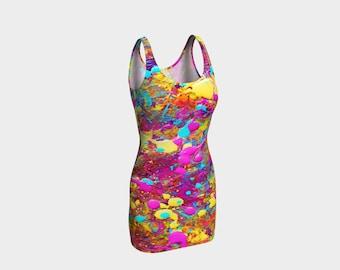 SPLAT!  Bodycon Dress XS-S-M-L-XL Paint Splatter Orange Turquoise Yellow Reversible Wearable Art Clothes Women Teen Ladies Clothing Fashion