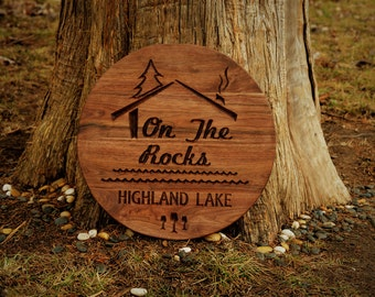 Personalized Lake House Sign Lakehouse Plaque, Outdoor Personalize Wood Plaque Outdoor Cabin Sign Custom Carve Name Sign Outdoor Wood Sign
