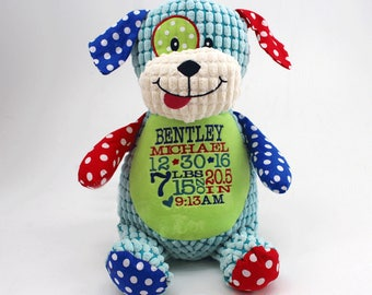 Personalized Stuffed Animal with Birth Information | Perfect Baby Gift Keepsake | Birth Statistics | Stats | Multiple animals | Style-Info