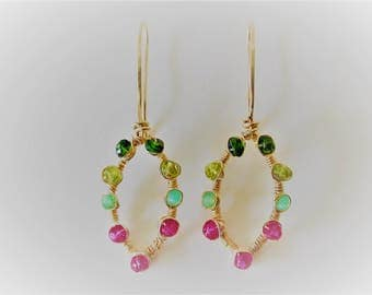 pair of gold fill earrings 18 guage wire embellished and wire wrapped with gemstones.