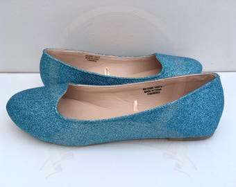 Light blue Glitter Flats - Glitter Pumps - Ballerina Pumps - Something Blue - Bridal - Wedding - Bridesmaid - Prom - Party - UK size 3-8