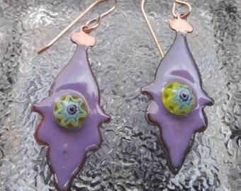 Earrings Enameled Purple