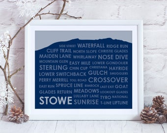 Stowe Vermont Ski Trails Print ~ Stowe VT Art Print ~ Gift for Skier ~ Stowe Vermont Art ~ Stowe Poster ~ Skiing Art Print ~ Ski Gift