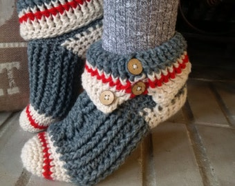PATTERN ONLY Crochet Sock Monkey Slippers