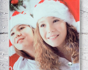 Two Happy Christmas Girls Personalized Sublimation Glass Frame with Smooth Edge SG-25
