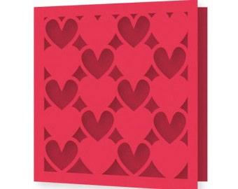 Hearts on Hearts Valentines Day Card , Blank inside ,  Love , Sweetheart , Spouse , Men , Women
