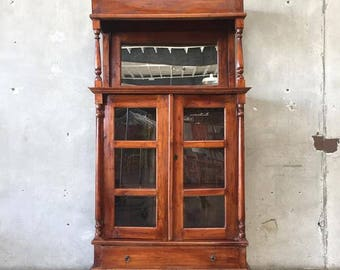Antique Mirrored Cabinet Hutch (XR1Z9V) RESERVED For LL