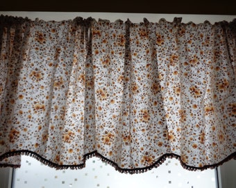 Vintage Valance; White, Beige & Brown Floral Cotton Valance with Fringe; Window Decor; Rustic Home Decor; Extra Long Kitchen Curtain Valance