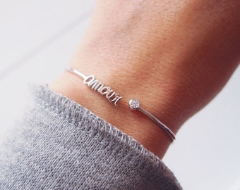 Love Silver 925 - thin bracelet markings - CZ - letters - Love silver sterling bangle