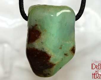 Chrysoprase on leather strap / cotton cord (necklace)