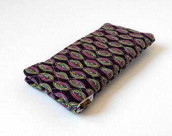 Microfiber glasses case, padded eyeglasses case, squeeze top, flex frame, snap shut, summer fun, soft lining, purse accessory, purple pink
