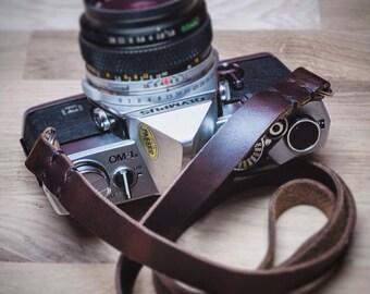 Leather Camera Strap  | Wide Leather Camera Strap | Horween Chromexcel Leather Camera Strap | Vintage Leather Camera Strap