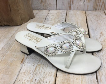 Size 8 - Kam Kasuals of Hawaii, White Sandals, Beach Wedding, wedding flip flops, white wedding shoes, bridal flip flops, decorated sandals