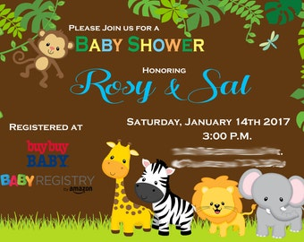 Baby Shower Invitations/Safari/Jungle/Animals/Printable
