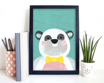 "Panda Illustration Art Print Sizes A4/A5/5x7"" - Great for Kids Rooms!"