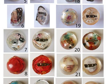Unique handmade design resin brooches. FrancescaRoseJ.Only one available of each, choose which one you would like from the dropdown menu.
