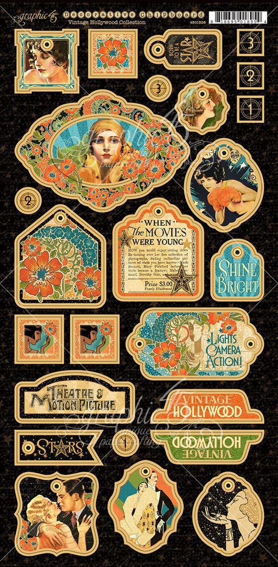 NEW! Graphic 45 Vintage Hollywood Decorative Chipboard, SC007709