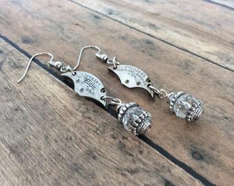 Watch Part Earrings, Elgin Watch, Steampunk Earrings, Silver Earrings, Elgin Watch Parts, Crystal Earrings, Dangle Earrings, Watch Gears