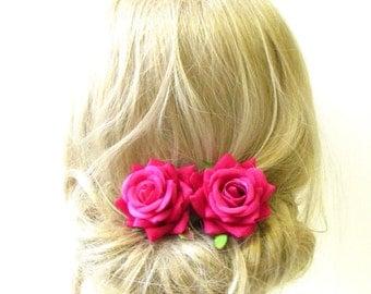 2 x Raspberry Pink Rose Flower Hair Pins Bridal Bridesmaid Clip Floral Vtg 1297