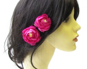 2 x Hot Pink Tea Rose Flower Hair Pins Vintage Rockabilly Clip Bridesmaid 1530