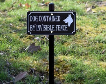 DOG CONTAINED By Invisible FENCE Lawn Sign - Free Shipping