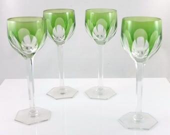 4 Art deco crystall cutting glasses, green cuppa