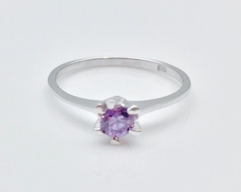 Sale Item // Amethyst CZ Ring // 925 Sterling Silver // Rhodium Finish // Trendy Silver Ring // Girl's Amethyst Ring