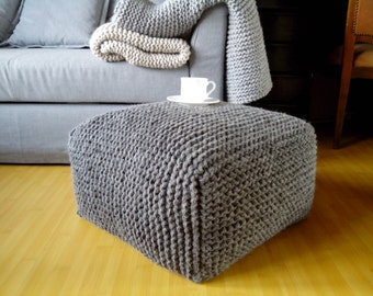 Knitted Grey Stuffed Ottoman / Knitted Pouf / Chunky Wool Chair