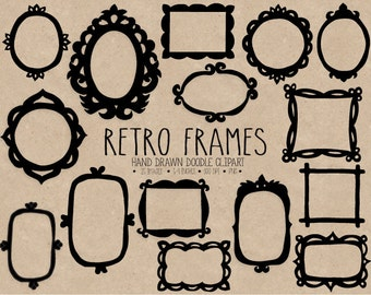 70% OFF SALE. Hand Drawn Vintage Frames Clip Art. Black, White Photo Borders Clipart. Scrapbook Tags, Labels.  Digital Doodle Frames Clipart