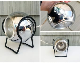 MID-CENTURY Chrome EYEBALL pendant light with switch cord and desk cradle
