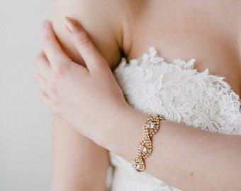 Gold Bridal Bracelet   Gold Cuff Bracelet   Crystal Wedding Bracelet   Gold Crystal Bracelet   Gold Wedding Jewelry   Gold Chloe Cuff