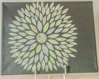 Wall Art Canvas, Mint and Grey Flower Sunburst Art, Home Decor, Wall Hanging, Nursery Decor, Mint Green