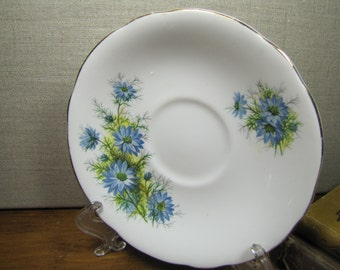 Royal Windsor - Saucer - Blue Flowers - Gold Accent - Slightly Scalloped Rim - Made in England