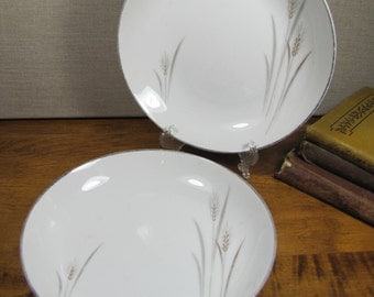 Fine China - Platinum Wheat  - Shallow Bowl - Gold Accent - Set of Two (2)