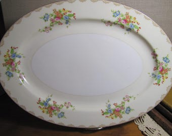 National China - Large Oval Serving Platter - Pale Yellow and Creamy White - Floral Bouquets - Tan Acccent - Gold Rim