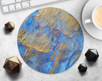 Gold Pattern Mousepad Blue Art Mouse Pad Painting Mousepad Modern Desk Accessories Watercolor Mouse Mat Computer Mousepad Style Mouse Mat