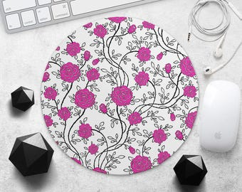 Pink Flowers MousePad Floral Mouse Mat Colorful Roses Mouse Pad Teacher Gift for Her Mouse Pad Woman MousePad Rubber MousePad Black Flower
