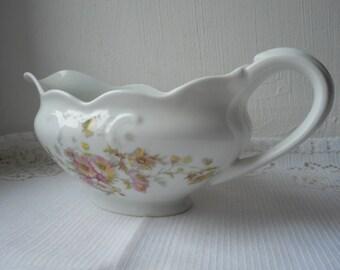 stunning vintage Limoges porcelain decorative gravy / sauce boat