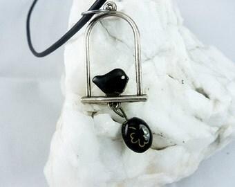 Black Bird Lucky Charm Leather Necklace