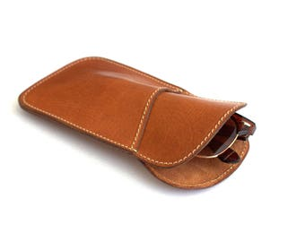 Glasses pouch Vegetable tanned leather Handmade